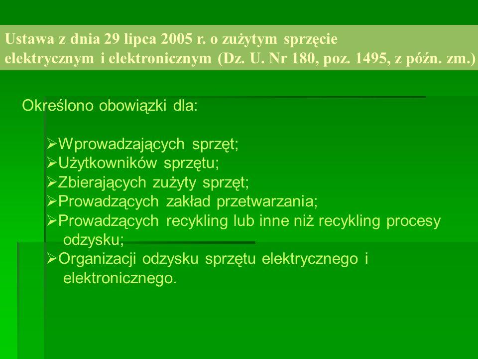 Użytkownik sprzętu Zakaz wyrzucania zużytego sprzętu elektrycznego i elektronicznego łącznie z innymi odpadami.