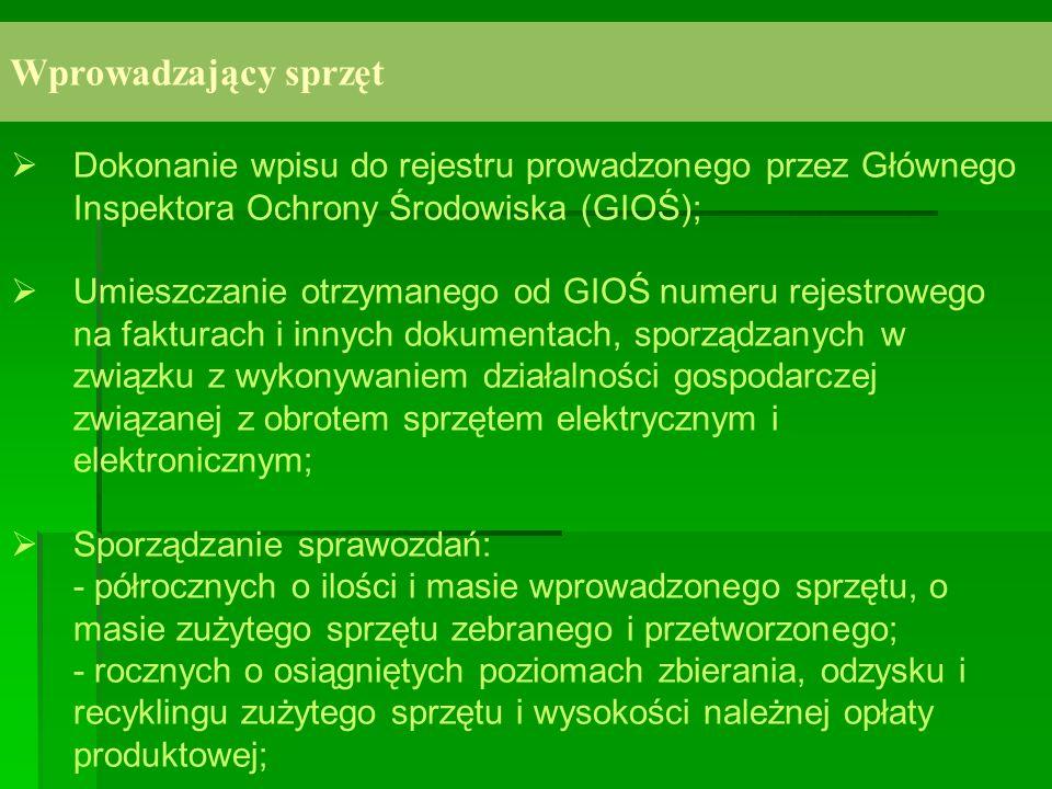 Wprowadzający sprzęt Dokonanie wpisu do rejestru prowadzonego przez Głównego Inspektora Ochrony Środowiska (GIOŚ); Umieszczanie otrzymanego od GIOŚ nu