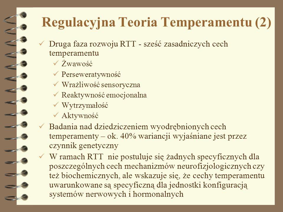 5 Regulacyjna Teoria Temperamentu (2) Druga faza rozwoju RTT - sześć zasadniczych cech temperamentu Żwawość Perseweratywność Wrażliwość sensoryczna Re