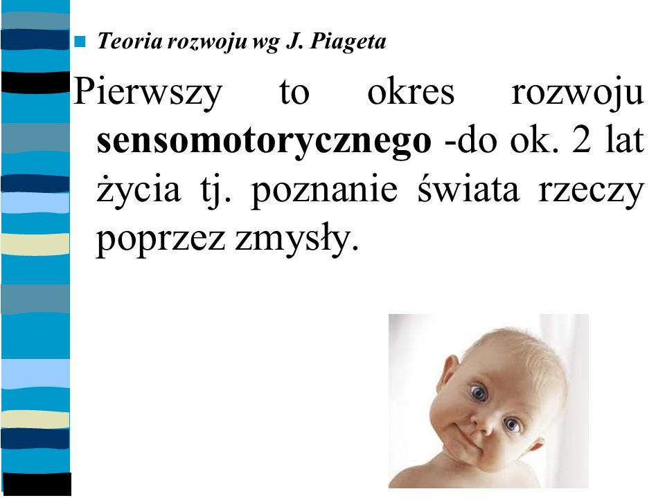 Teoria rozwoju wg J.Piageta Pierwszy to okres rozwoju sensomotorycznego -do ok.