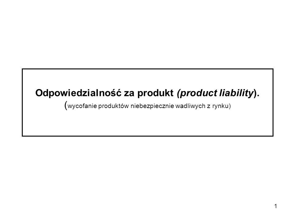 1 Odpowiedzialność za produkt (product liability). ( wycofanie produktów niebezpiecznie wadliwych z rynku)