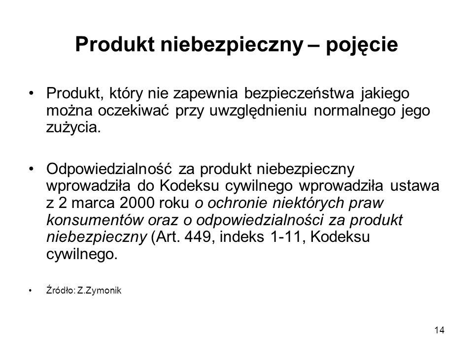 14 Produkt niebezpieczny – pojęcie Produkt, który nie zapewnia bezpieczeństwa jakiego można oczekiwać przy uwzględnieniu normalnego jego zużycia. Odpo