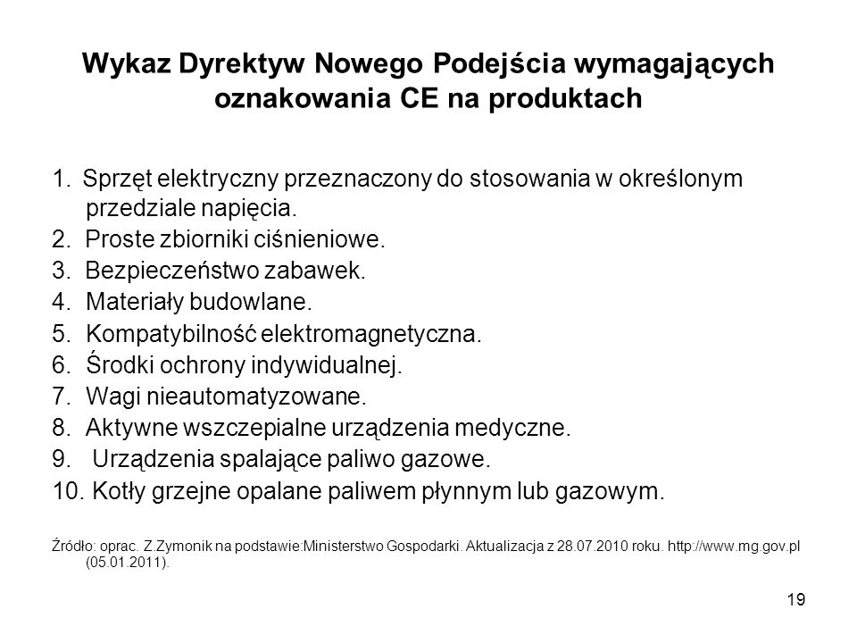 19 Wykaz Dyrektyw Nowego Podejścia wymagających oznakowania CE na produktach 1. Sprzęt elektryczny przeznaczony do stosowania w określonym przedziale