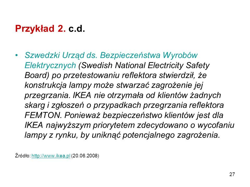 27 Przykład 2. c.d. Szwedzki Urząd ds. Bezpieczeństwa Wyrobów Elektrycznych (Swedish National Electricity Safety Board) po przetestowaniu reflektora s