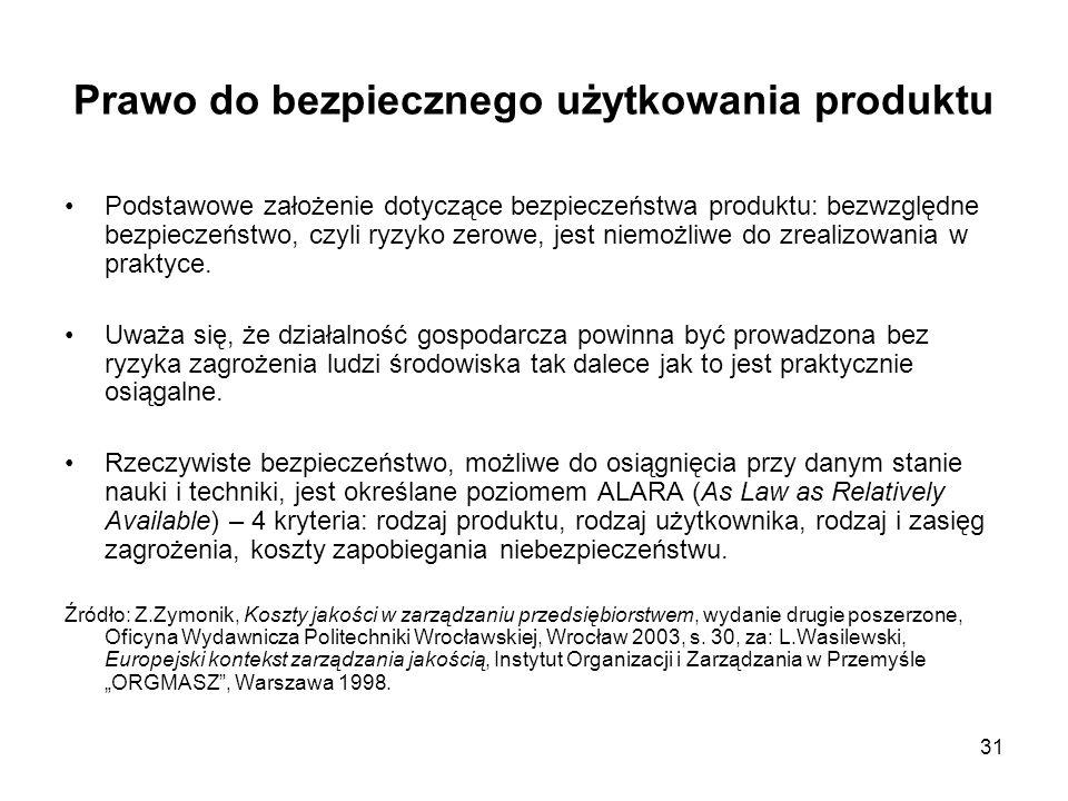 31 Prawo do bezpiecznego użytkowania produktu Podstawowe założenie dotyczące bezpieczeństwa produktu: bezwzględne bezpieczeństwo, czyli ryzyko zerowe,