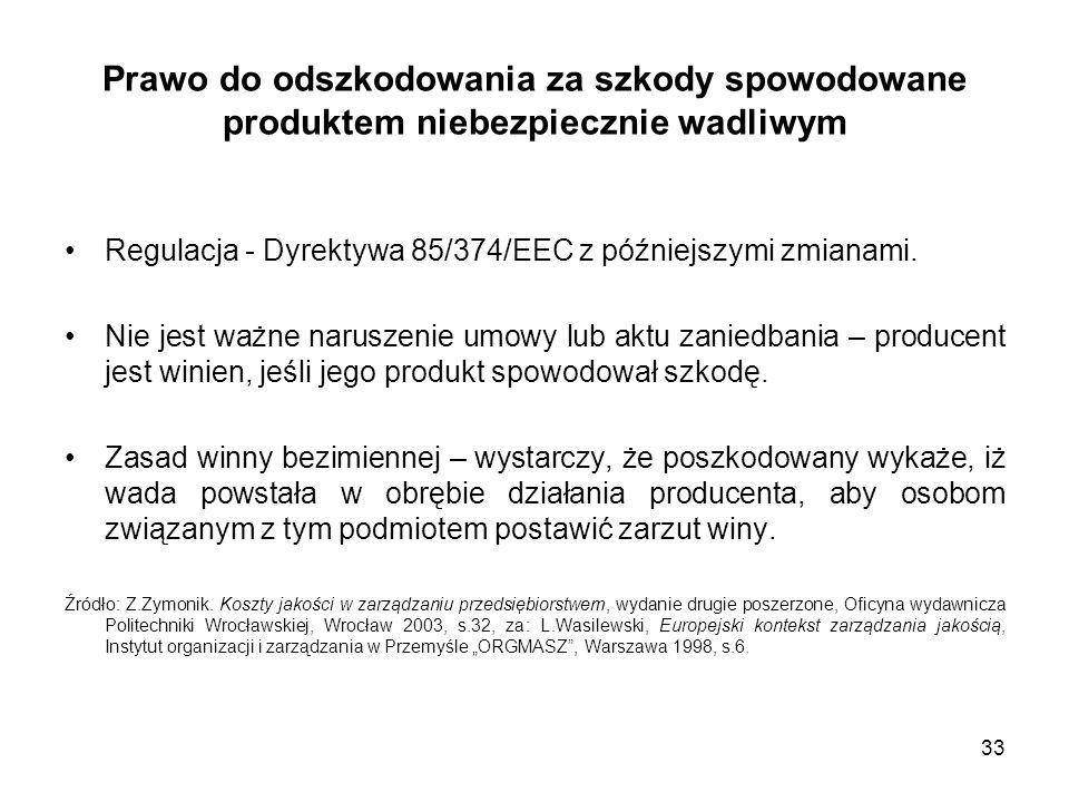 33 Prawo do odszkodowania za szkody spowodowane produktem niebezpiecznie wadliwym Regulacja - Dyrektywa 85/374/EEC z późniejszymi zmianami. Nie jest w