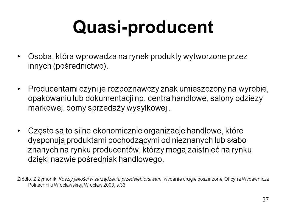 37 Quasi-producent Osoba, która wprowadza na rynek produkty wytworzone przez innych (pośrednictwo). Producentami czyni je rozpoznawczy znak umieszczon