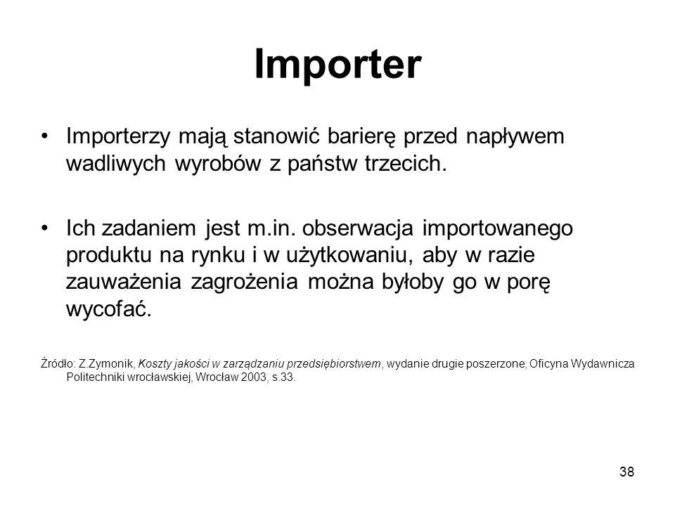 38 Importer Importerzy mają stanowić barierę przed napływem wadliwych wyrobów z państw trzecich. Ich zadaniem jest m.in. obserwacja importowanego prod