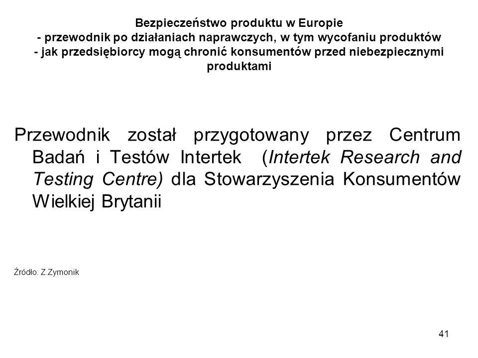 41 Bezpieczeństwo produktu w Europie - przewodnik po działaniach naprawczych, w tym wycofaniu produktów - jak przedsiębiorcy mogą chronić konsumentów