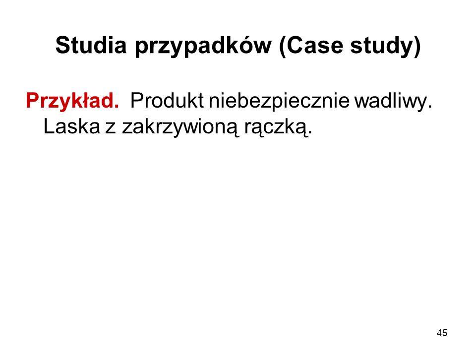 45 Studia przypadków (Case study) Przykład. Produkt niebezpiecznie wadliwy. Laska z zakrzywioną rączką.