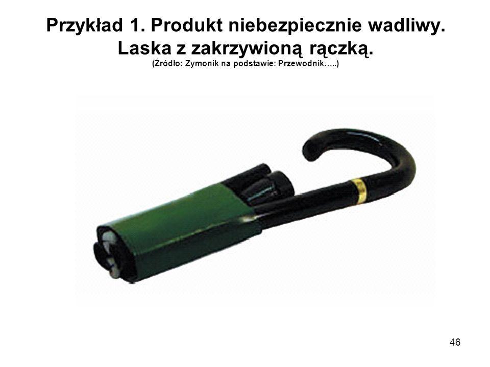 46 Przykład 1. Produkt niebezpiecznie wadliwy. Laska z zakrzywioną rączką. (Źródło: Zymonik na podstawie: Przewodnik…..)
