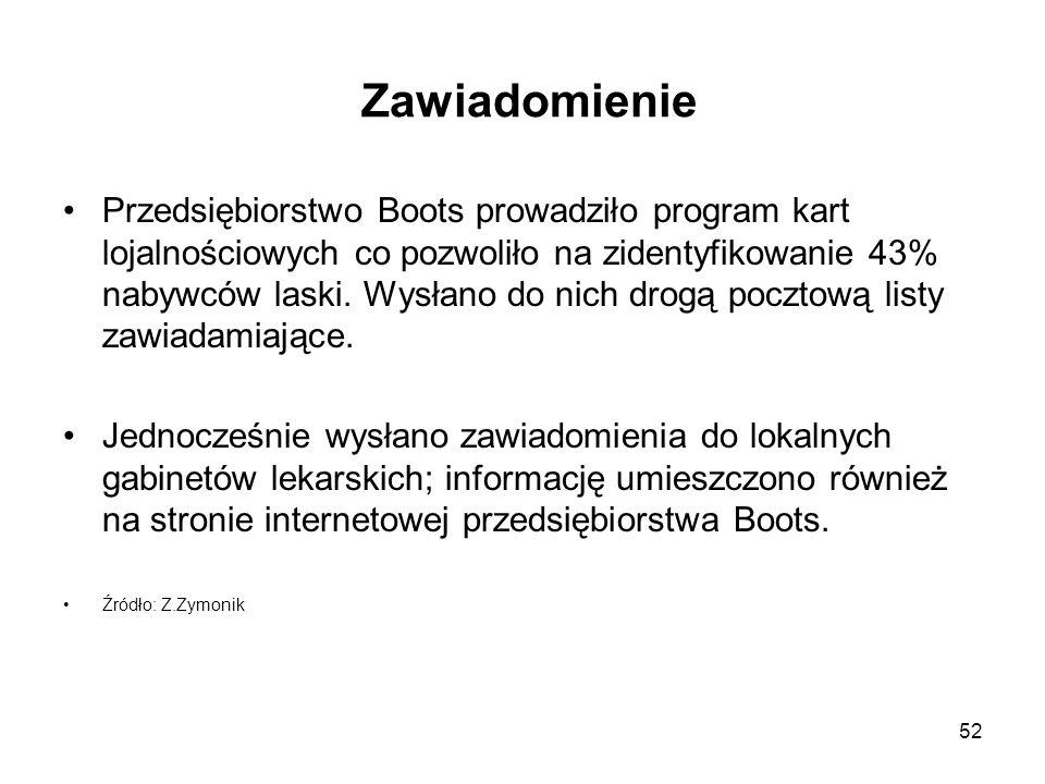 52 Zawiadomienie Przedsiębiorstwo Boots prowadziło program kart lojalnościowych co pozwoliło na zidentyfikowanie 43% nabywców laski. Wysłano do nich d