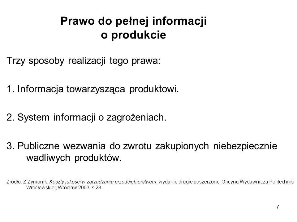 7 Prawo do pełnej informacji o produkcie Trzy sposoby realizacji tego prawa: 1. Informacja towarzysząca produktowi. 2. System informacji o zagrożeniac