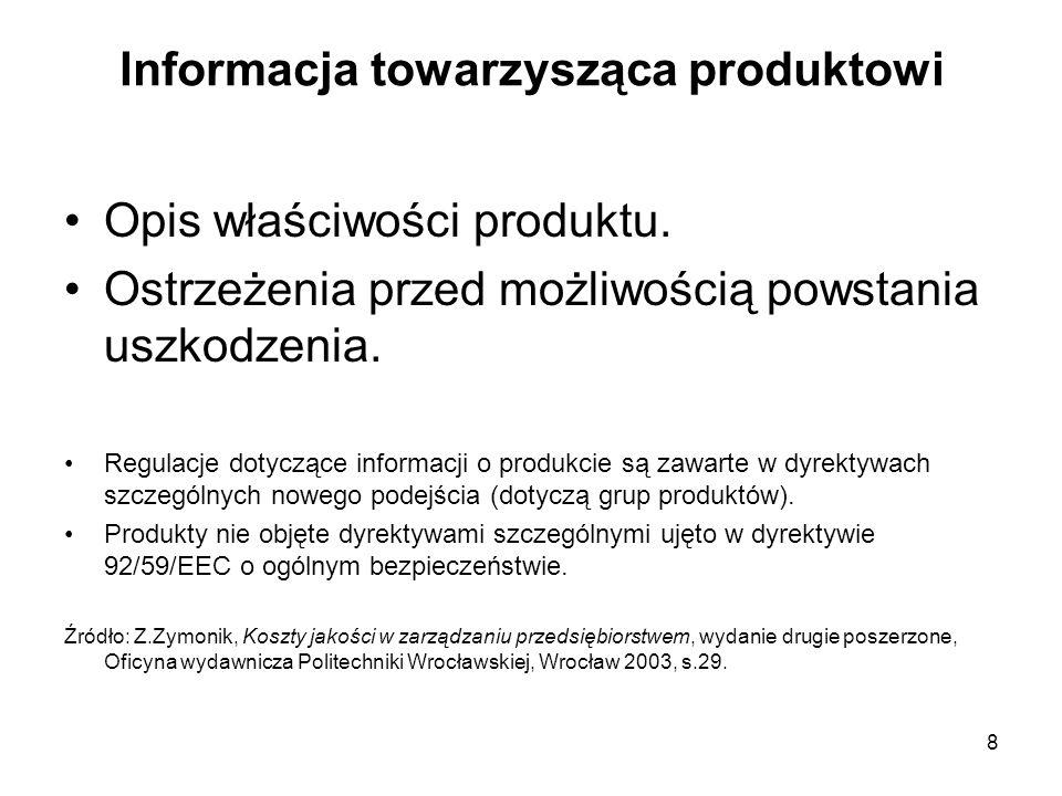 8 Informacja towarzysząca produktowi Opis właściwości produktu. Ostrzeżenia przed możliwością powstania uszkodzenia. Regulacje dotyczące informacji o