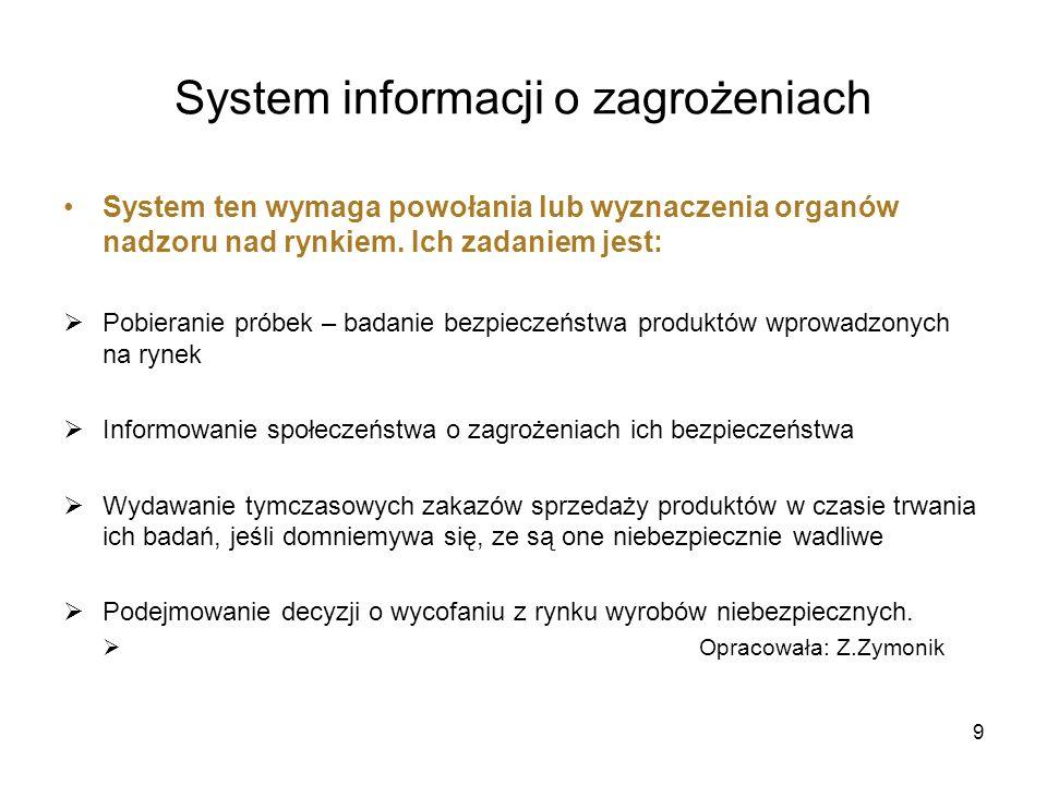 System informacji o zagrożeniach System ten wymaga powołania lub wyznaczenia organów nadzoru nad rynkiem. Ich zadaniem jest: Pobieranie próbek – badan
