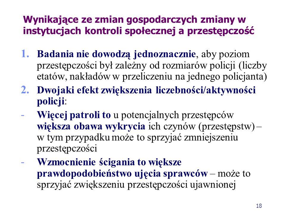 17 Wynikające ze zmian gospodarczych zmiany w instytucjach kontroli społecznej a przestępczość Kryzys a policja 1. Efektywność policji mierzona jest p