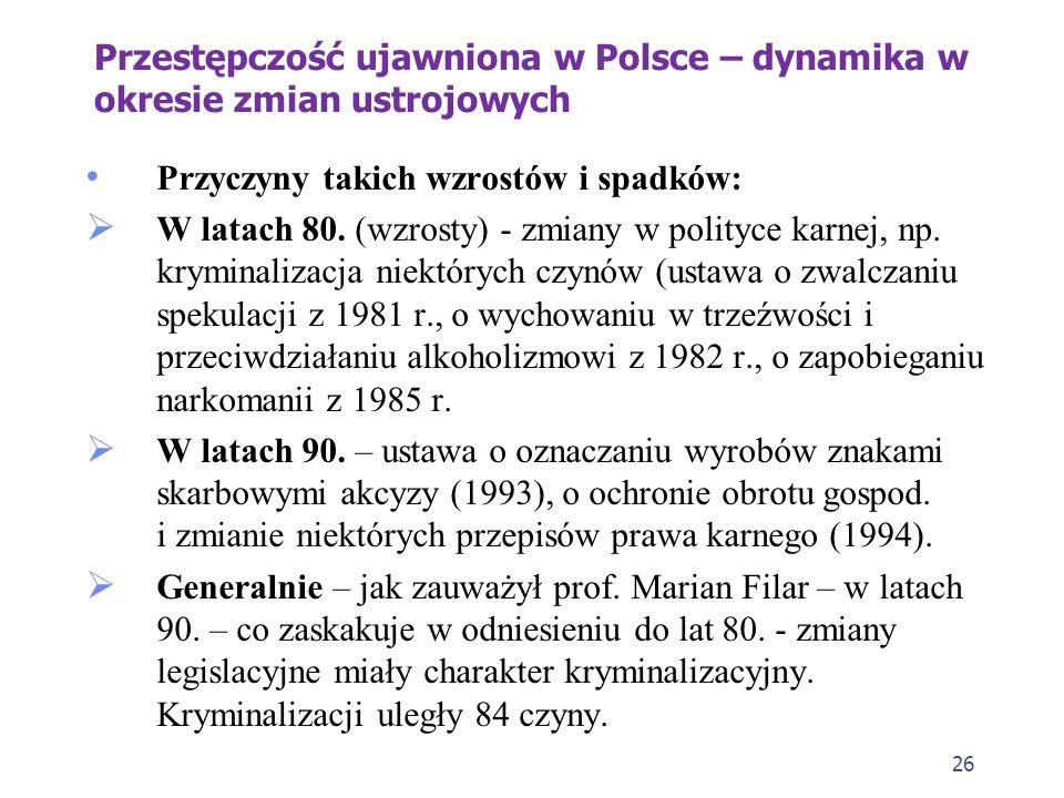 25 Przestępczość ujawniona w Polsce – dynamika w okresie zmian ustrojowych 1. Dane pochodzą z lat 70., 80. i 90. XX w. 2. W latach 70. przestępczość u