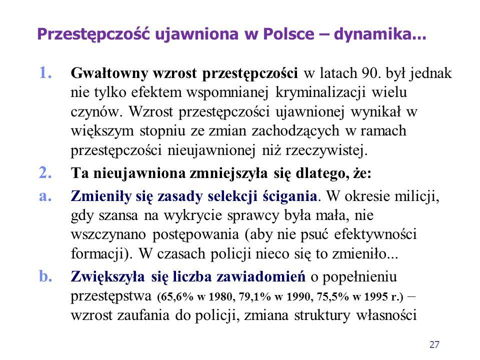 26 Przestępczość ujawniona w Polsce – dynamika w okresie zmian ustrojowych Przyczyny takich wzrostów i spadków: W latach 80. (wzrosty) - zmiany w poli