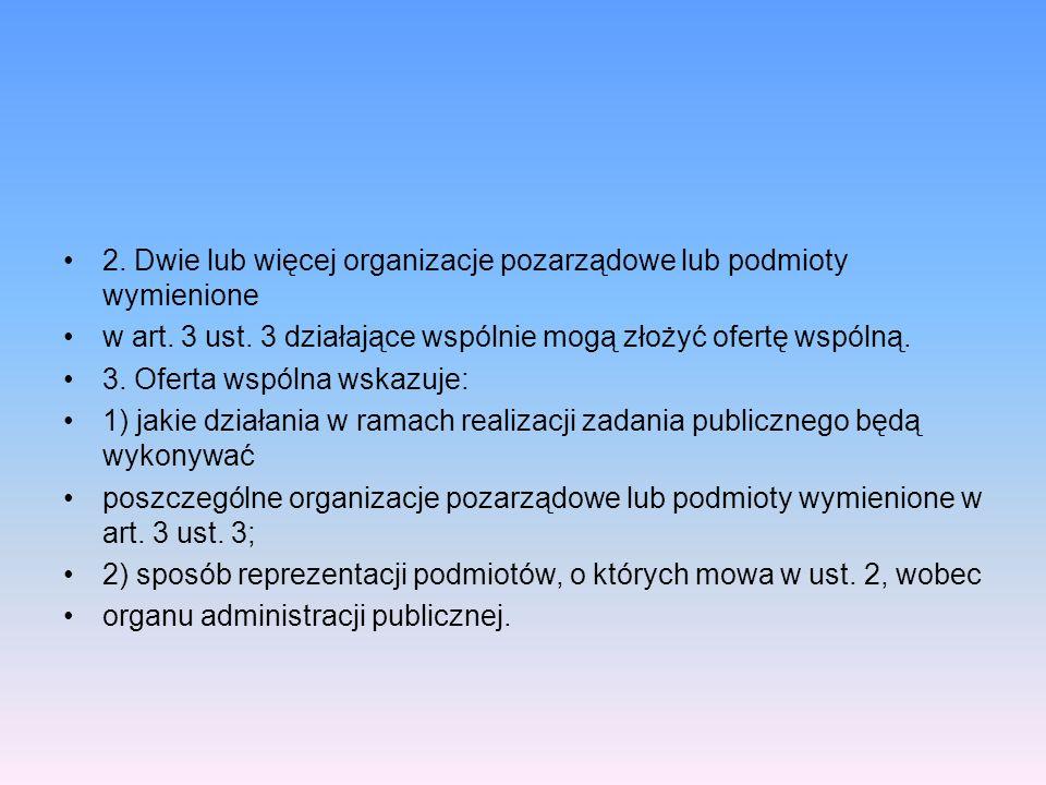 2. Dwie lub więcej organizacje pozarządowe lub podmioty wymienione w art. 3 ust. 3 działające wspólnie mogą złożyć ofertę wspólną. 3. Oferta wspólna w