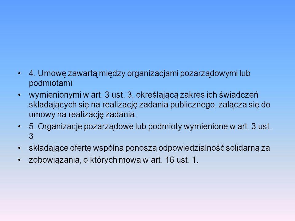 4. Umowę zawartą między organizacjami pozarządowymi lub podmiotami wymienionymi w art. 3 ust. 3, określającą zakres ich świadczeń składających się na