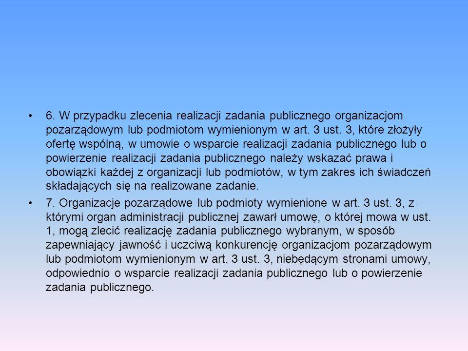 6. W przypadku zlecenia realizacji zadania publicznego organizacjom pozarządowym lub podmiotom wymienionym w art. 3 ust. 3, które złożyły ofertę wspól