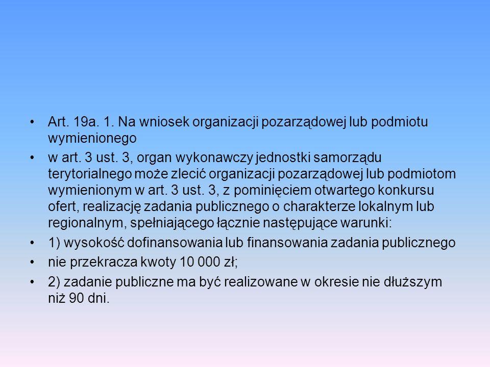 Art. 19a. 1. Na wniosek organizacji pozarządowej lub podmiotu wymienionego w art. 3 ust. 3, organ wykonawczy jednostki samorządu terytorialnego może z