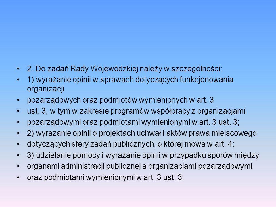 2. Do zadań Rady Wojewódzkiej należy w szczególności: 1) wyrażanie opinii w sprawach dotyczących funkcjonowania organizacji pozarządowych oraz podmiot