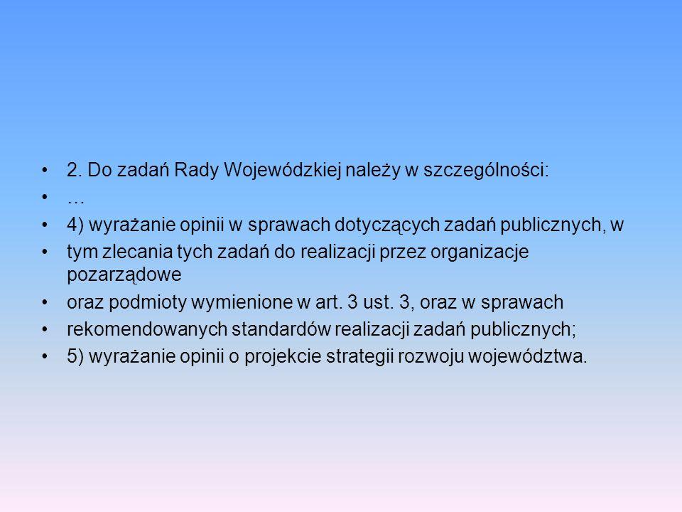 2. Do zadań Rady Wojewódzkiej należy w szczególności: … 4) wyrażanie opinii w sprawach dotyczących zadań publicznych, w tym zlecania tych zadań do rea
