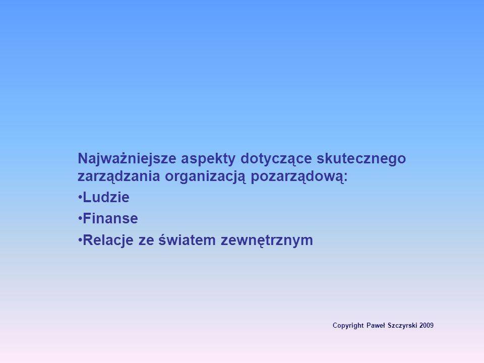 Copyright Paweł Szczyrski 2009 Najważniejsze aspekty dotyczące skutecznego zarządzania organizacją pozarządową: Ludzie Finanse Relacje ze światem zewn