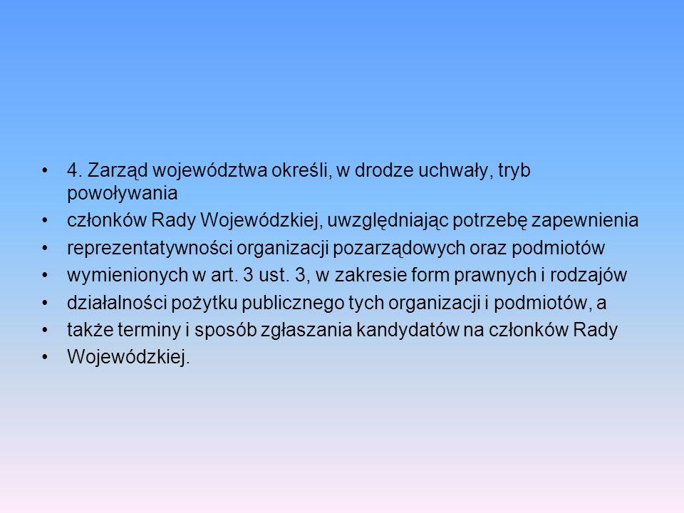 4. Zarząd województwa określi, w drodze uchwały, tryb powoływania członków Rady Wojewódzkiej, uwzględniając potrzebę zapewnienia reprezentatywności or