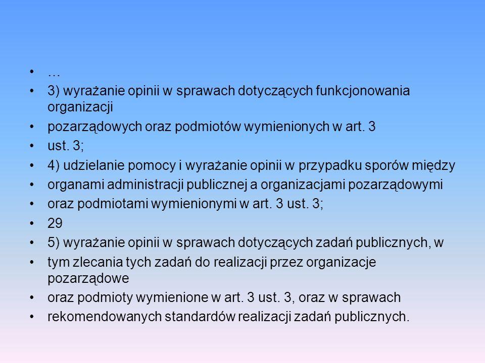 … 3) wyrażanie opinii w sprawach dotyczących funkcjonowania organizacji pozarządowych oraz podmiotów wymienionych w art. 3 ust. 3; 4) udzielanie pomoc