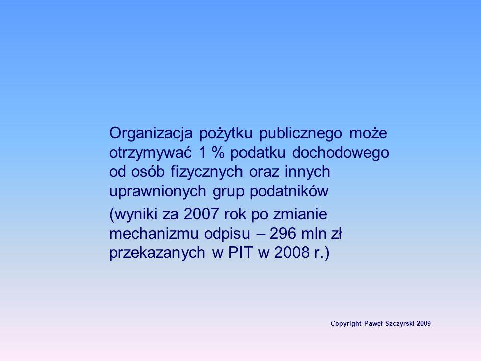 Copyright Paweł Szczyrski 2009 Organizacja pożytku publicznego może otrzymywać 1 % podatku dochodowego od osób fizycznych oraz innych uprawnionych gru