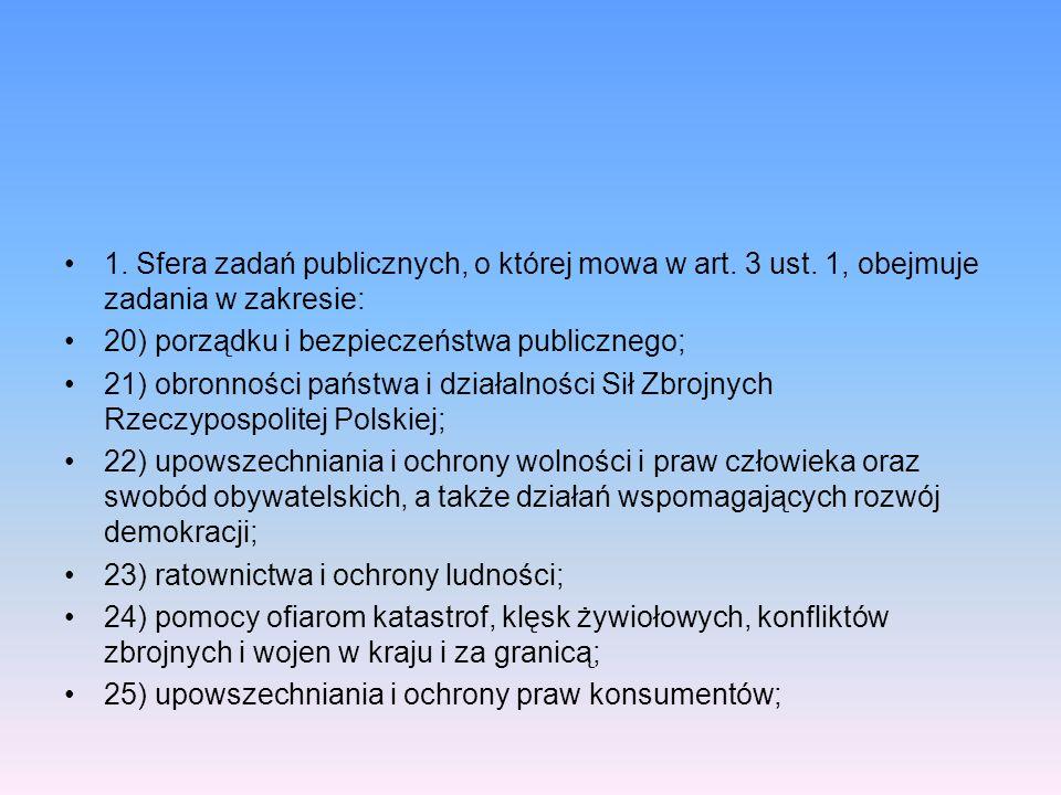 1. Sfera zadań publicznych, o której mowa w art. 3 ust. 1, obejmuje zadania w zakresie: 20) porządku i bezpieczeństwa publicznego; 21) obronności pańs
