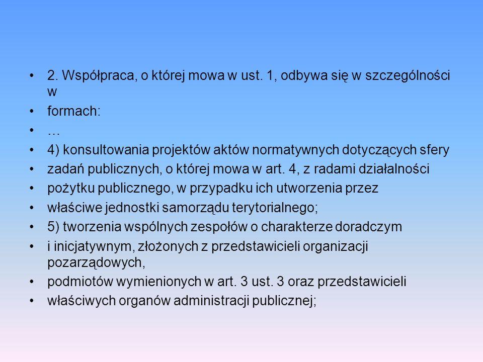 2. Współpraca, o której mowa w ust. 1, odbywa się w szczególności w formach: … 4) konsultowania projektów aktów normatywnych dotyczących sfery zadań p