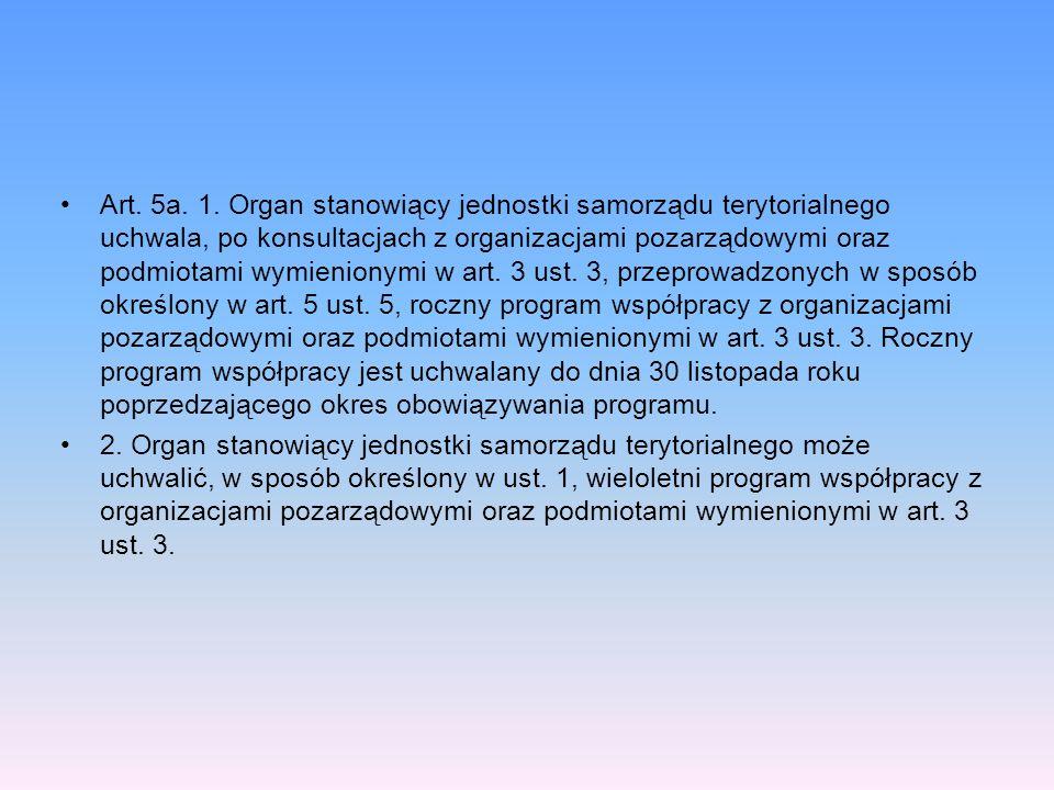 Art. 5a. 1. Organ stanowiący jednostki samorządu terytorialnego uchwala, po konsultacjach z organizacjami pozarządowymi oraz podmiotami wymienionymi w