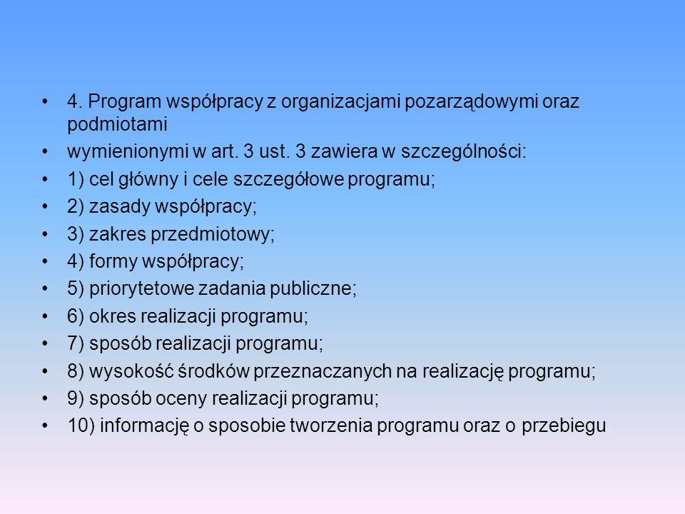 4. Program współpracy z organizacjami pozarządowymi oraz podmiotami wymienionymi w art. 3 ust. 3 zawiera w szczególności: 1) cel główny i cele szczegó