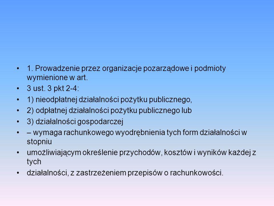 1. Prowadzenie przez organizacje pozarządowe i podmioty wymienione w art. 3 ust. 3 pkt 2-4: 1) nieodpłatnej działalności pożytku publicznego, 2) odpła