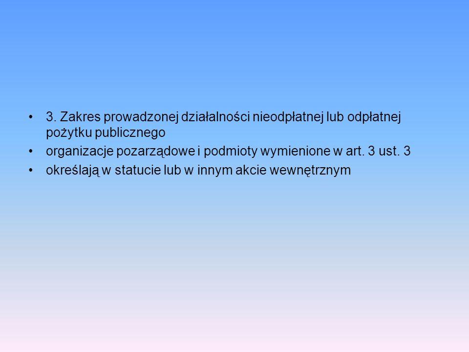 3. Zakres prowadzonej działalności nieodpłatnej lub odpłatnej pożytku publicznego organizacje pozarządowe i podmioty wymienione w art. 3 ust. 3 określ
