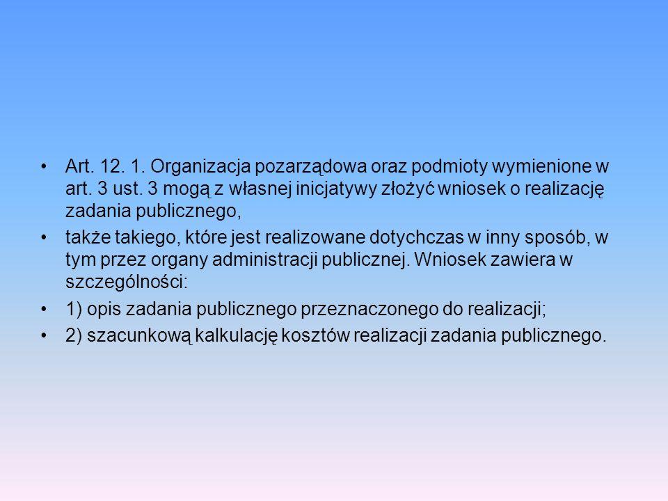 Art. 12. 1. Organizacja pozarządowa oraz podmioty wymienione w art. 3 ust. 3 mogą z własnej inicjatywy złożyć wniosek o realizację zadania publicznego