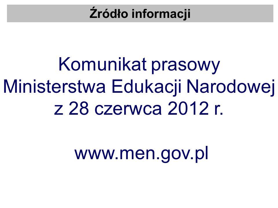 Źródło informacji Komunikat prasowy Ministerstwa Edukacji Narodowej z 28 czerwca 2012 r. www.men.gov.pl