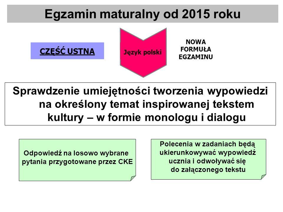 Sprawdzenie umiejętności tworzenia wypowiedzi na określony temat inspirowanej tekstem kultury – w formie monologu i dialogu CZĘŚĆ USTNA Język polski N