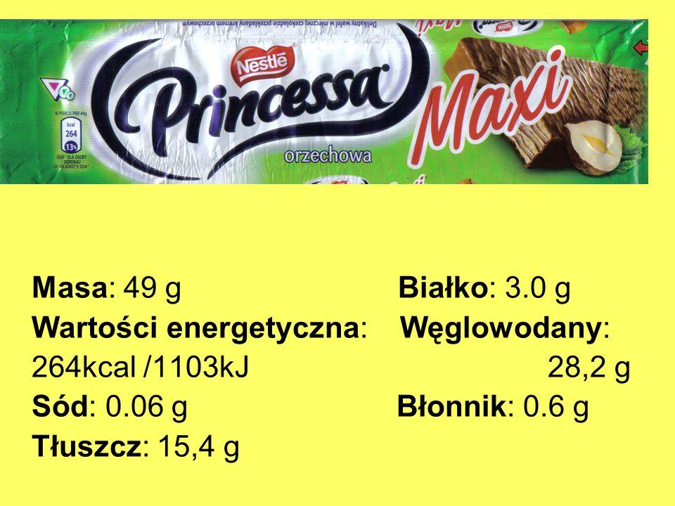 Masa: 49 g Białko: 3.0 g Wartości energetyczna: Węglowodany: 264kcal /1103kJ 28,2 g Sód: 0.06 g Błonnik: 0.6 g Tłuszcz: 15,4 g