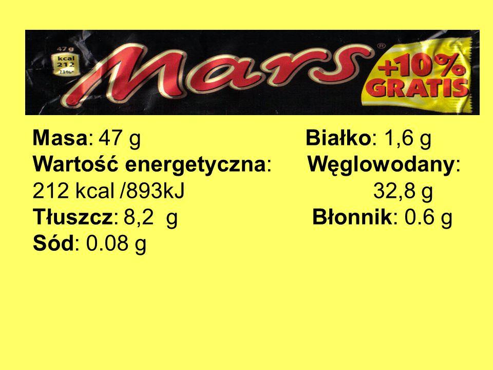 Masa: 47 g Białko: 1,6 g Wartość energetyczna: Węglowodany: 212 kcal /893kJ 32,8 g Tłuszcz: 8,2 g Błonnik: 0.6 g Sód: 0.08 g