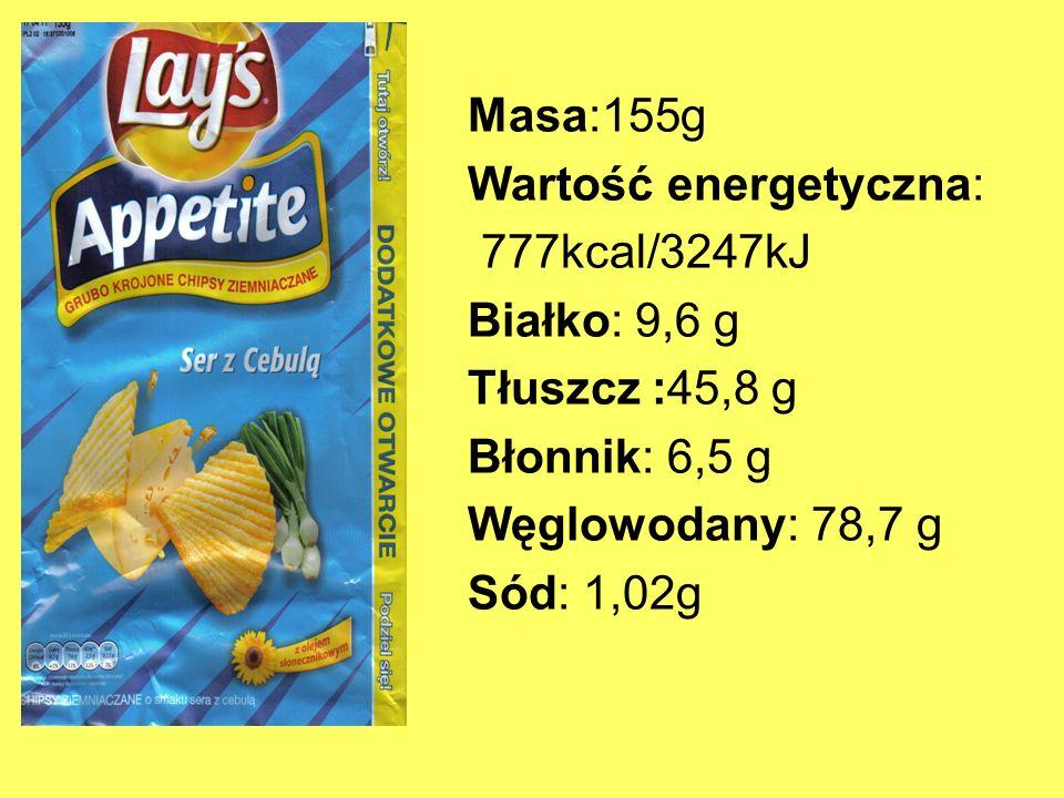 Masa:155g Wartość energetyczna: 777kcal/3247kJ Białko: 9,6 g Tłuszcz :45,8 g Błonnik: 6,5 g Węglowodany: 78,7 g Sód: 1,02g
