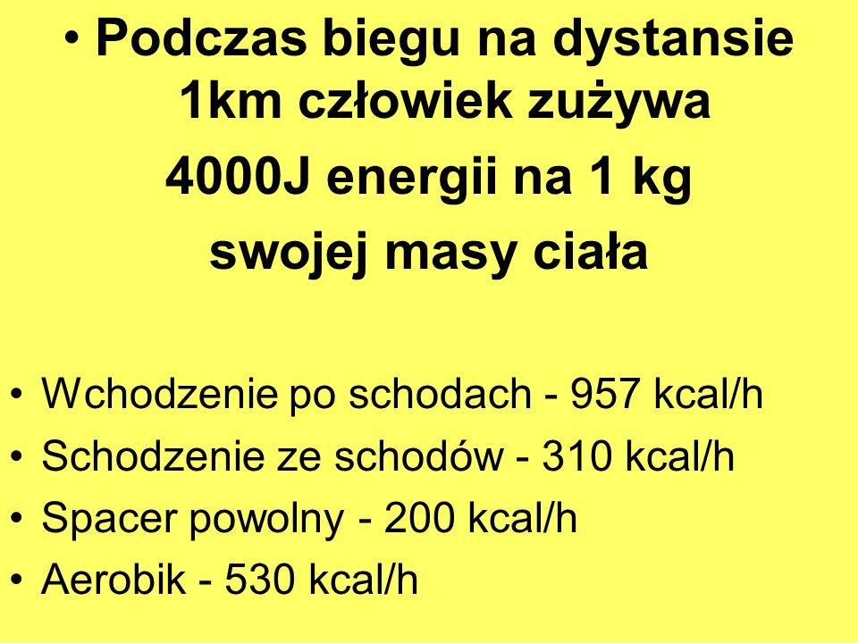 Podczas biegu na dystansie 1km człowiek zużywa 4000J energii na 1 kg swojej masy ciała Wchodzenie po schodach - 957 kcal/h Schodzenie ze schodów - 310