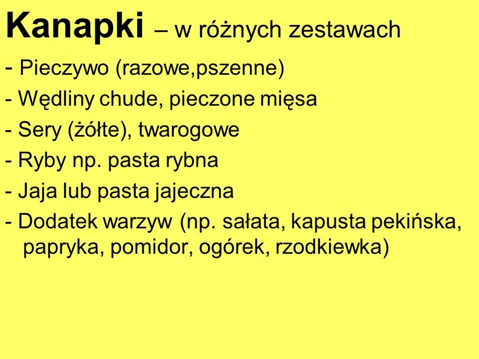 Kanapki – w różnych zestawach - Pieczywo (razowe,pszenne) - Wędliny chude, pieczone mięsa - Sery (żółte), twarogowe - Ryby np. pasta rybna - Jaja lub