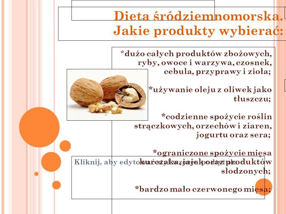 Kliknij, aby edytować styl wzorca podtytułu 11-6-21 * dużo całych produktów zbożowych, ryby, owoce i warzywa, czosnek, cebula, przyprawy i zioła; *uży