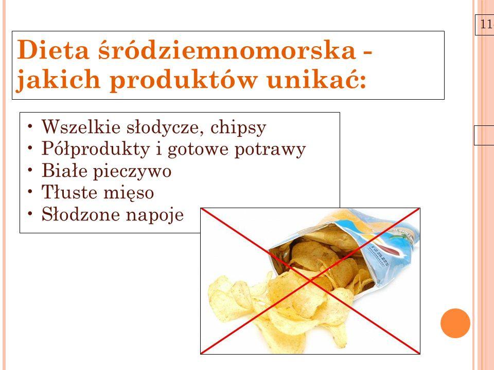 11-6-21 Wszelkie słodycze, chipsy Półprodukty i gotowe potrawy Białe pieczywo Tłuste mięso Słodzone napoje Dieta śródziemnomorska - jakich produktów u