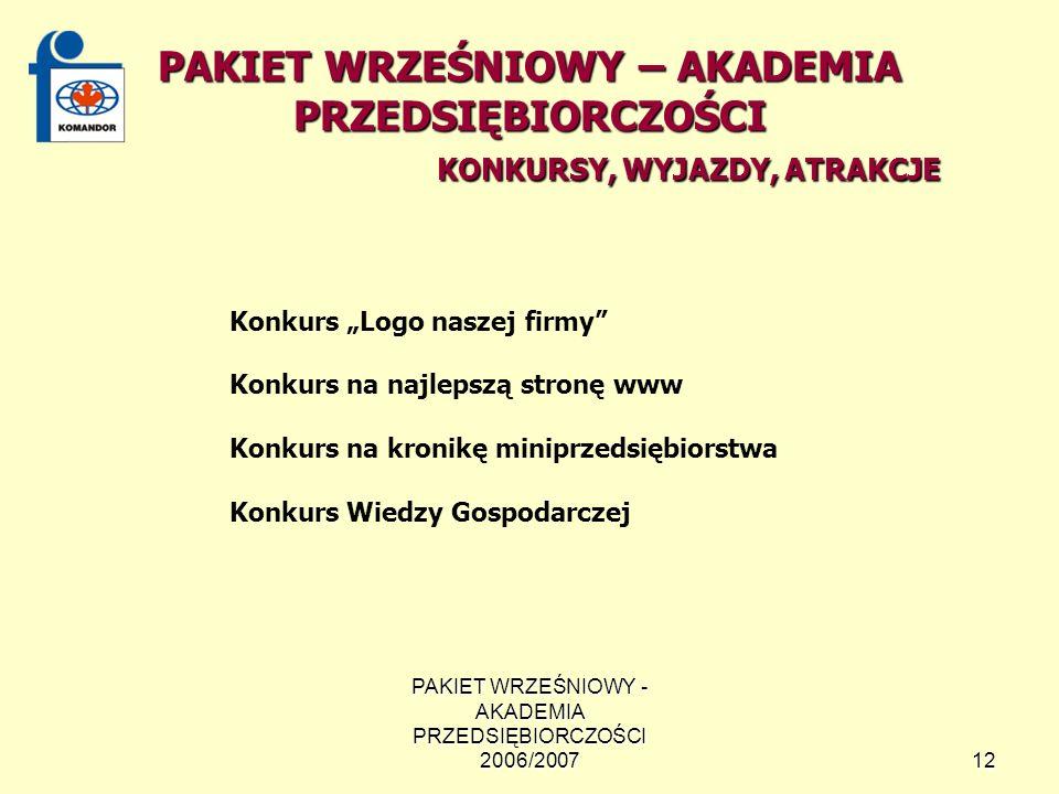 PAKIET WRZEŚNIOWY - AKADEMIA PRZEDSIĘBIORCZOŚCI 2006/200712 PAKIET WRZEŚNIOWY – AKADEMIA PRZEDSIĘBIORCZOŚCI KONKURSY, WYJAZDY, ATRAKCJE Konkurs Logo naszej firmy Konkurs na najlepszą stronę www Konkurs na kronikę miniprzedsiębiorstwa Konkurs Wiedzy Gospodarczej