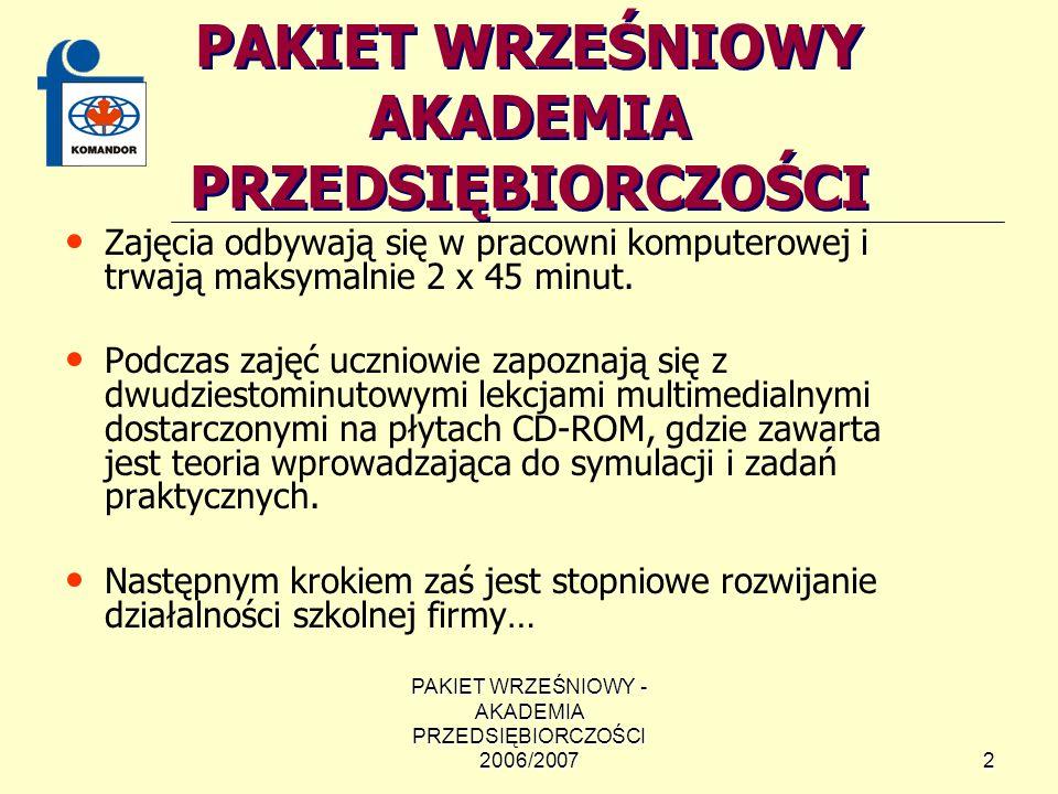 PAKIET WRZEŚNIOWY - AKADEMIA PRZEDSIĘBIORCZOŚCI 2006/200713 KONKURS NA LOGO FIRMY Uczestnikami konkursu są uczniowie gimnazjów biorących udział w projekcie Pakiet Wrześniowy – Akademia Przedsiębiorczości 2006/2007.